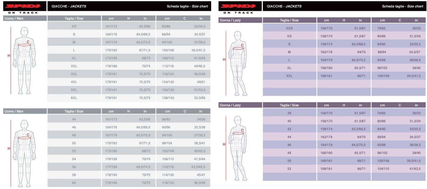 Таблица размеров - Мотокуртка текстильная Spidi Hoodie Armor Jacket Black S