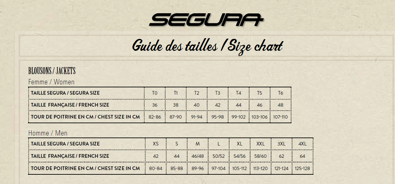 Таблица размеров - Мотокуртка Segura Patch Black XL