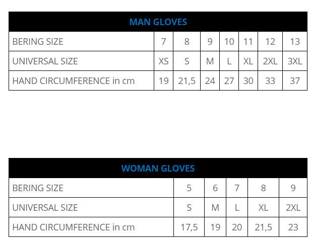 Таблица размеров - Мотоперчатки женские Bering Lady Fletcher Black T8