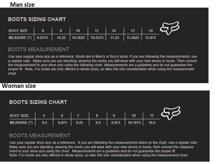 Таблица размеров - Мотоботы Fox Instinct Black-White 12