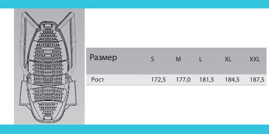 Таблица размеров - Защита спины в куртку Alpinestars Nucleon KR-2i Black S (2015)