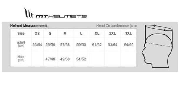 Таблица размеров - Мотошлем MT Targo Metal Black XL