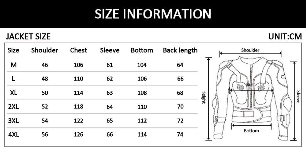 Таблица размеров - Моточерепаха Scoyco AM02 Black L