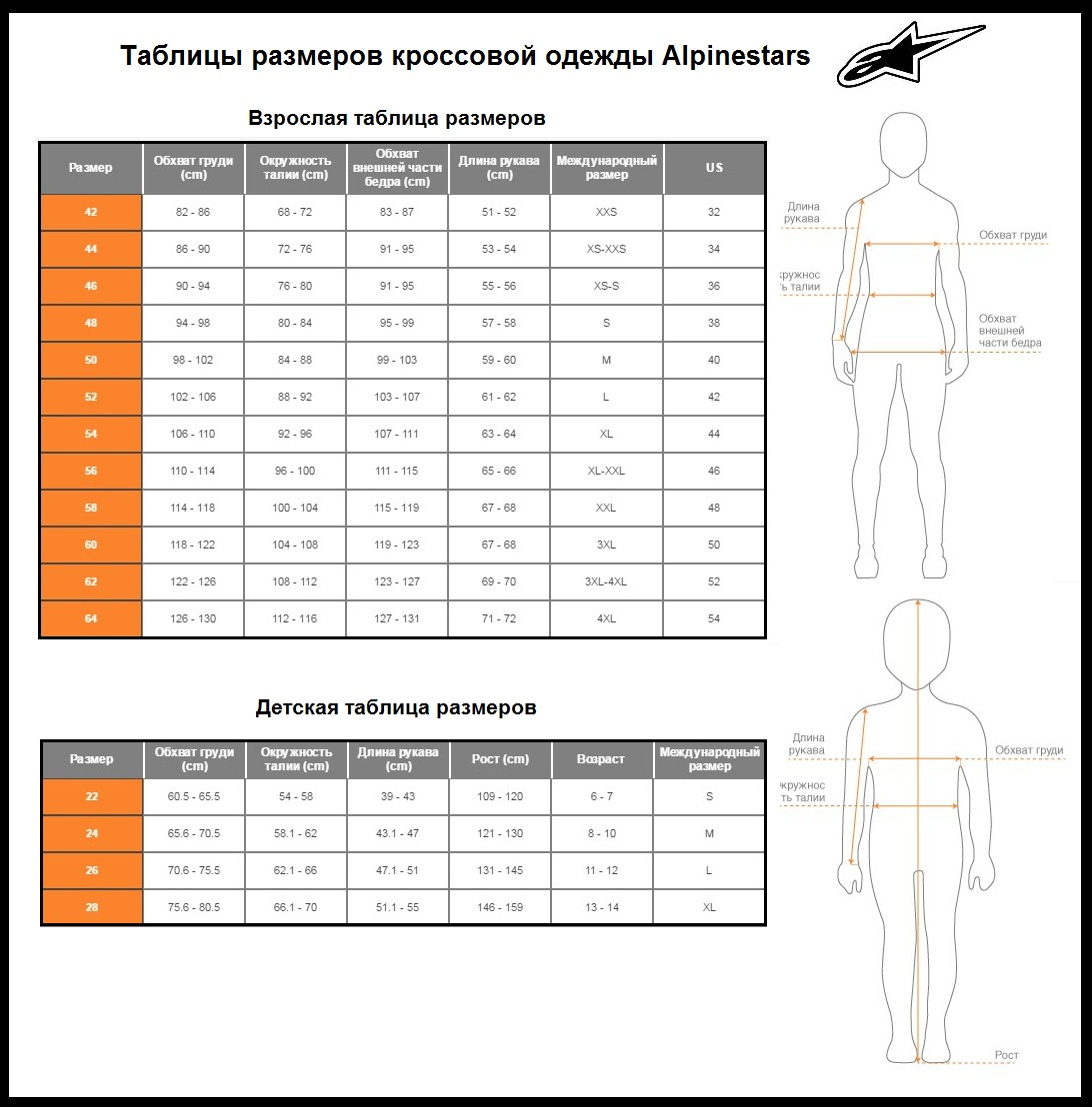 Таблица размеров - Мотоджерси детская Alpinestars Racer Green L