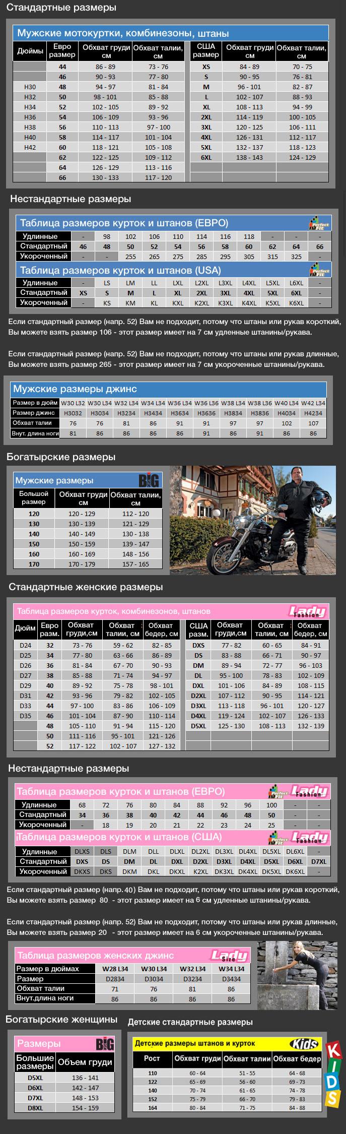 Таблица размеров - Мотокуртка IXS Levante Black-White XL