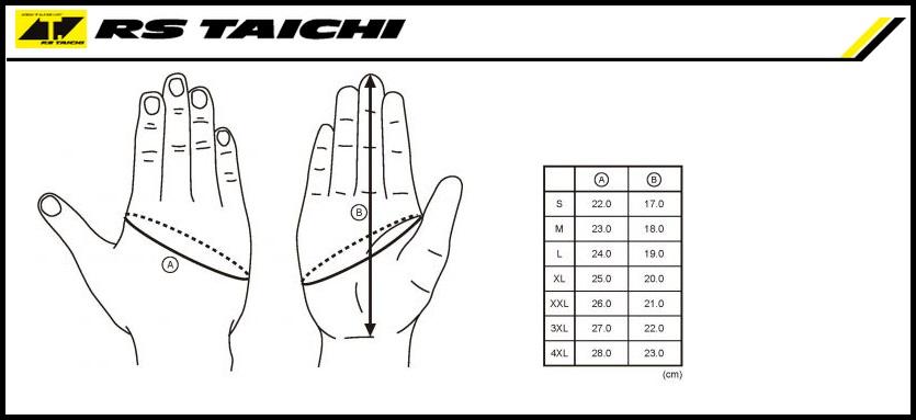Таблица размеров - Мотоперчатки RS-Taichi Surge Mesh Black-Red L