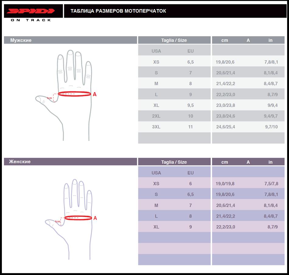 Таблица размеров - Мотоперчатки Spidi Voyager H2Out Glove Black-Yellow L