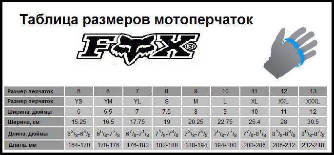Таблица размеров - Мотоперчатки Fox Legion Glove Black 2XL (12)