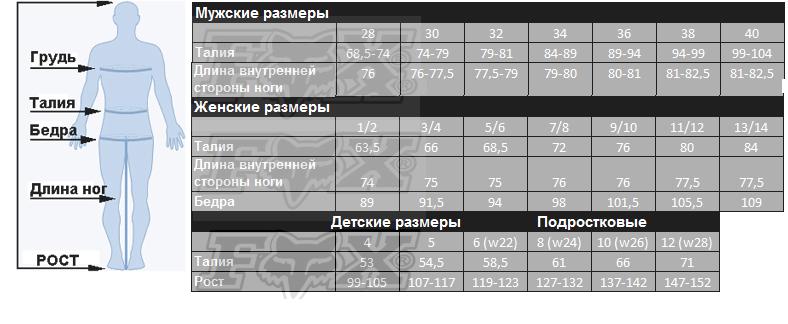 Таблица размеров - Мотоштаны детские Fox YTH 180 PRZM Pant Camo Y26