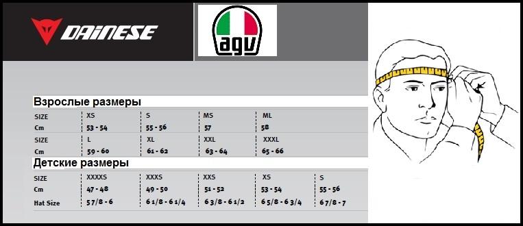 Таблица размеров - Мотошлем AGV Pista GP Gran Premio Italia Black L