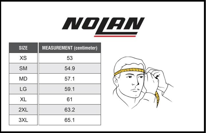 Таблица размеров - Мотошлем Nolan N100-5 Consistency N-Com Metal White M