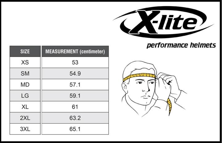 Таблица размеров - Мотошлем X-Lite X-803 UC Puro Carbon M