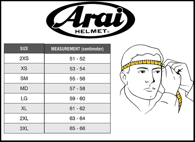 Таблица размеров - Мотошлем Arai Axces II Sensai Black-White-Red L