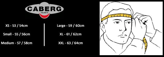 Таблица размеров - Мотошлем Caberg JET Ghost Matt Black M