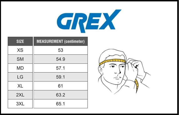 Таблица размеров - Мотошлем Grex G6.2 STRIPES M