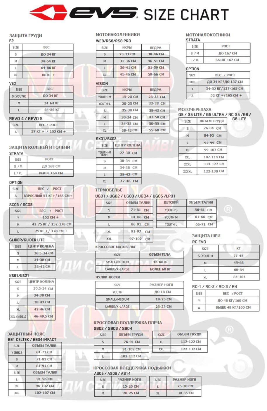 Таблица размеров - Мотонаколенники детские EVS Option New Black