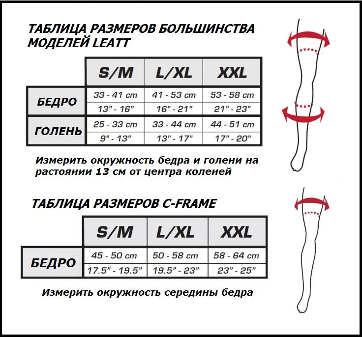 Таблица размеров - Мотонаколенники Leatt Knee and Shin Guard Dual Axis White-Black S-M