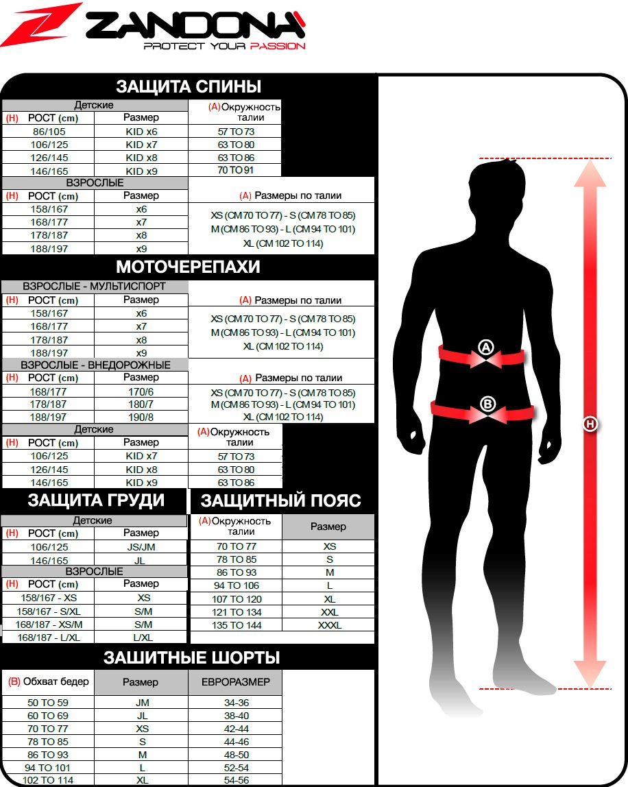 Таблица размеров - Мотозащита Zandona Esatech Armour Pro x7 Black S