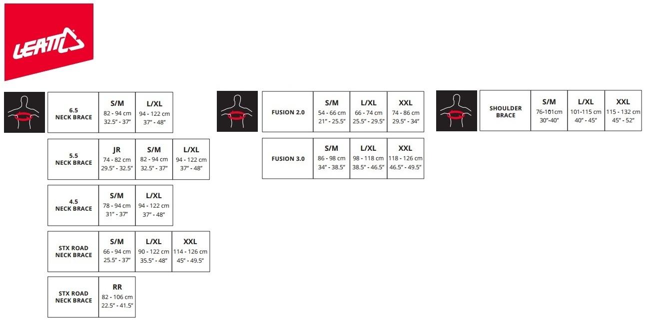 Таблица размеров - Моточерепаха Leatt Chest Protector 3DF AirFit Black-Red