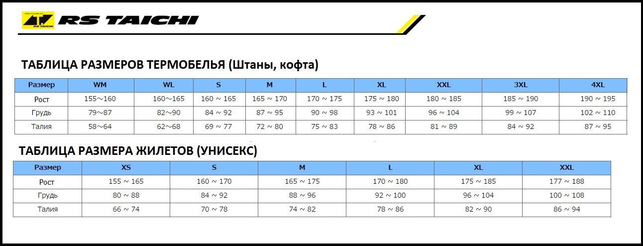 Таблица размеров - Термоштаны Rs Taichi Cool Ride Stretch Black 2XL