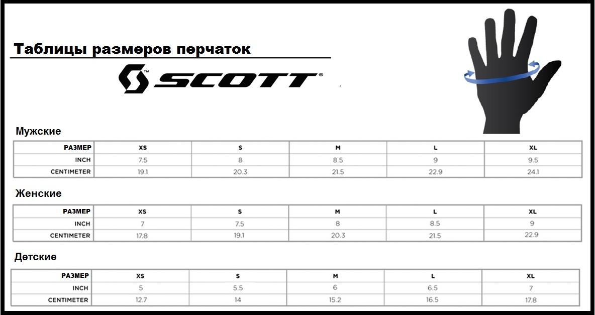 Таблица размеров - Зимние мужские перчатки  Scott Ultimate Down Black L