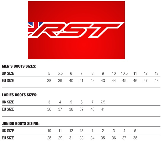 Таблица размеров - Мотоботинки RST Urban II Black-Red 45