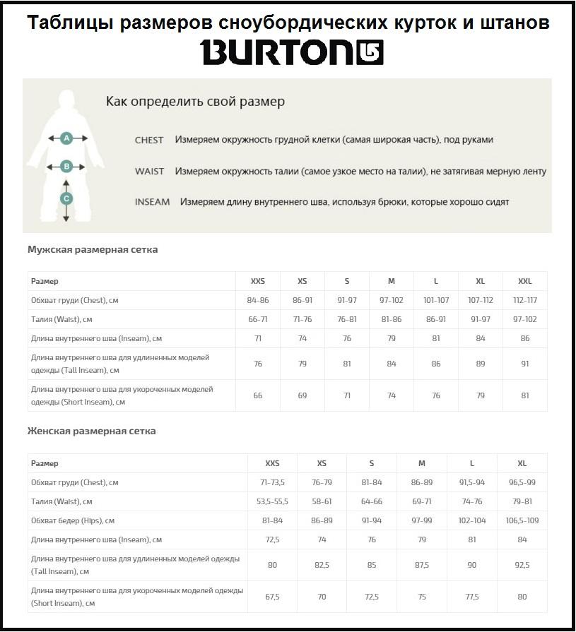 Таблица размеров - Сноубордические штаны женские Burton Fly Tall Canvas M (2017)