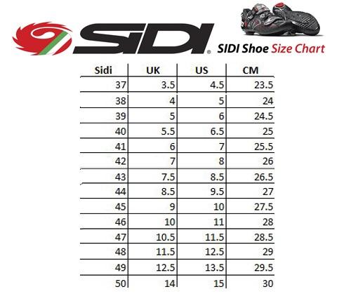 Таблица размеров - Велотуфли МТБ Sidi Dragon4 SRS CC Lucido Yellow-Black 41