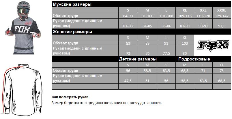 Таблица размеров - Велокуртка Fox Stormbreaker Graphite S
